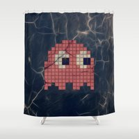 pac man Shower Curtains featuring Pac-Man Pink Ghost by Psocy Shop