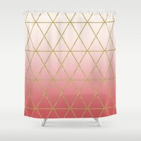 rose gold Shower Curtains featuring Rose Gold Geometric by Leah Flores