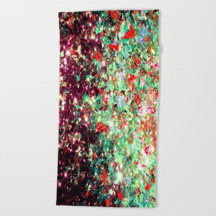 MISTLETOE NEBULA Colorful Festive Christmas Red Green Sparkle Galaxy Ombre Xmas Holidaze Abstract  Beach Towel