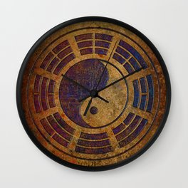 Purple Yin Yang Sign on Granite Wall Clock