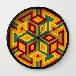 Multicolor Geometric Hexagon Pattern with contrasting colors Wall Clock