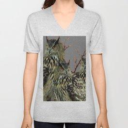 FOREST  WOODS OWL FAMILY GREY ART DESIGN  ART Unisex V-Neck