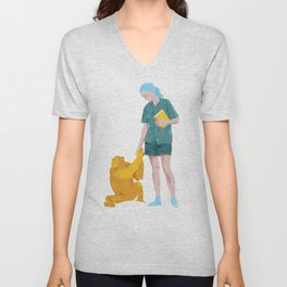 Jane and Fifi - Jane Goodall tribute illustration Unisex V-Neck