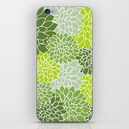 Dahlia Flowers, Petals, Blossoms - Green White iPhone Skin