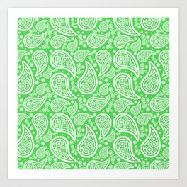 Paisley (White & Green Pattern) Art Print