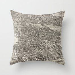 Vintage Map of Jersey City NJ (1883) Throw Pillow