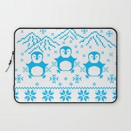 Cute Blue Scandinavian Penguin Holiday Design Laptop Sleeve