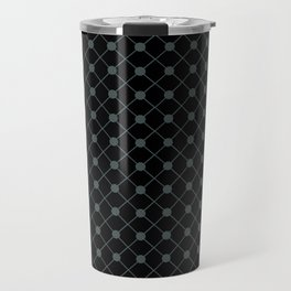 PPG Night Watch Pewter Green Thin Line Stripe Grid (Pinstripe) and Polka Dots on Black Travel Mug