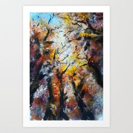 Under the falling leafs Art Print