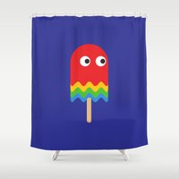 pacman Shower Curtains featuring Pacman ghost by Tony Vazquez