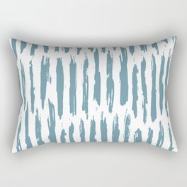 Vertical Dash Teal on White Rectangular Pillow