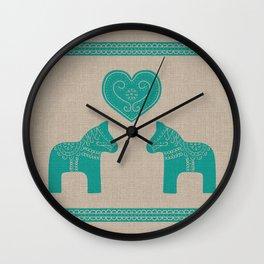 Turquoise Dala Horses on Burlap Wall Clock