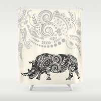 rhino Shower Curtains featuring Rhino by famenxt