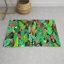 Topical Palm Leaves Bright Green Pattern Rug