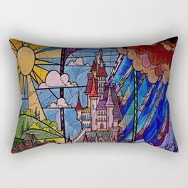 ROMANCE BEAUTY AND THE BEAST Castle Stained Glass Rectangular Pillow