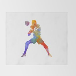 Volley ball player man 02 in watercolor Throw Blanket