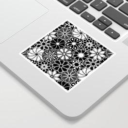 Mid Century Hawaiian Flower Print - Black and White Sticker