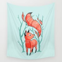 fox Wall Tapestries featuring Winter Fox by Freeminds