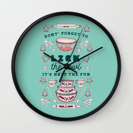 Don't Forget to Lick the Bowl Vintage Christmas Wall Clock