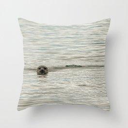 Seal swimming in Jökulsárlón, Iceland Throw Pillow