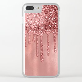 Dripping in Rose Gold Glitter Clear iPhone Case