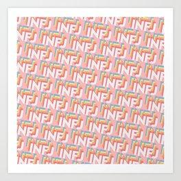 INFJ Trendy Rainbow Text Pattern (Pink) Art Print