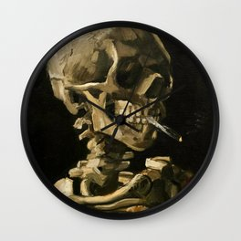 Skull Of A Skeleton With Burning Cigarette Wall Clock