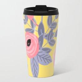 Yellow Floral Pattern Travel Mug