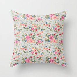 Embroidered Flowers - Light Throw Pillow