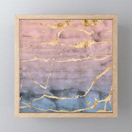 Watercolor Gradient Gold Foil Framed Mini Art Print
