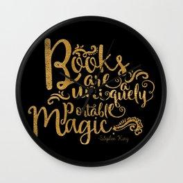 Books are a Uniquely Portable Magic Gold Wall Clock