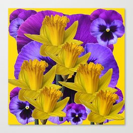 YELLOW DAFFODILS AGAINST PURPLE PANSIES Canvas Print