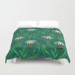 Green Daisy Garden Duvet Cover