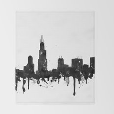 Watercolor Chicago Skyline Throw Blanket