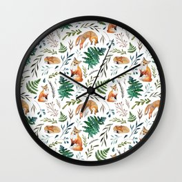 Foxes and Ferns Pattern Wall Clock