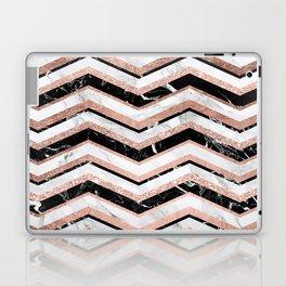 Modern trendy faux rose gold black white marble chevron Laptop & iPad Skin