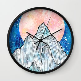 The cold peaks and the giant sun Wall Clock