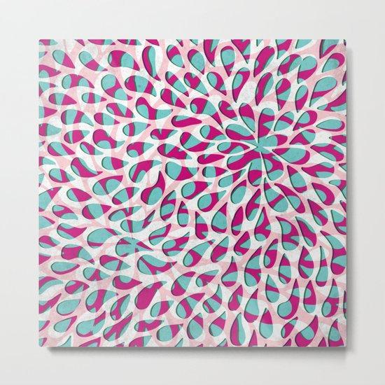 Organic Petals Pattern Pink Turquoise Metal Print