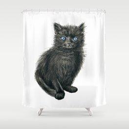 Black kitten Shower Curtain