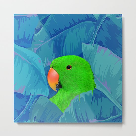 Parrot with banana leaves Metal Print