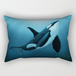 """The Dreamer"" by Amber Marine ~ Orca / Killer Whale Art, (Copyright 2015) Rectangular Pillow"