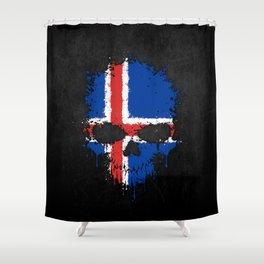 Flag of Iceland on a Chaotic Splatter Skull Shower Curtain
