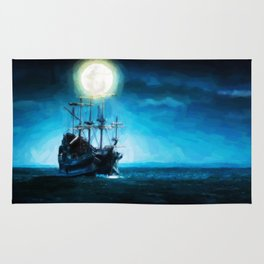 The Flying Dutchman Under The Moon - Painting Style Rug