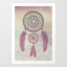 Double Dream Catcher (Rose) Art Print