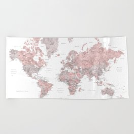 Wanderlust - Dusty pink and grey watercolor world map, detailed Beach Towel