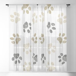 Doodle grey and gold paw print seamless fabric design repeated pattern background Sheer Curtain