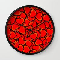 hearts Wall Clocks featuring Heart by 10813 Apparel
