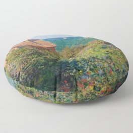 Fisherman's Cottage on the Cliffs at Varengeville Claude Monet Floor Pillow