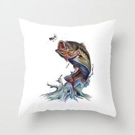 Bass Fish Throw Pillow
