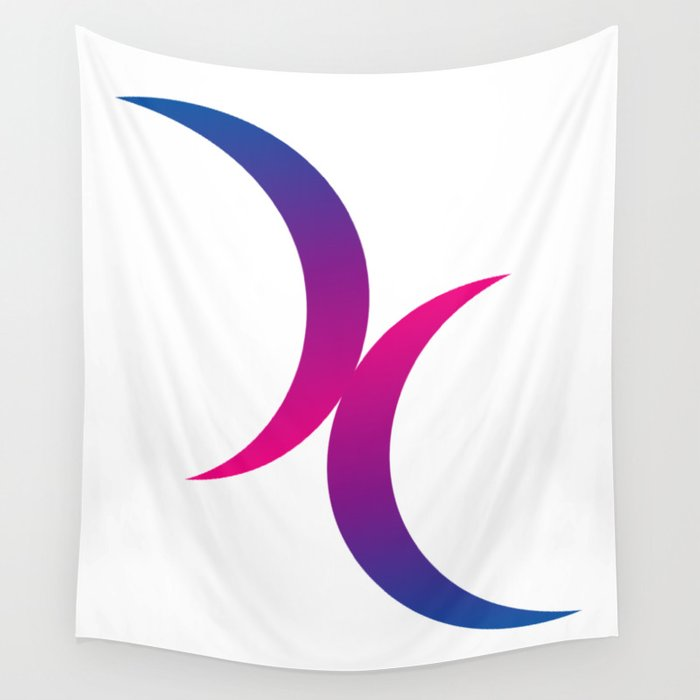 Double Crescent Moon Bisexual Pride Symbol Wall Tapestry by thearts